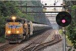 UP 8348 leads CSX K711 empty oil train